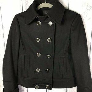Express Wool Blend Pea Coat LIned Black Womens
